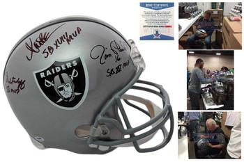 Marcus Allen, Plunkett, Biletnikoff Autographed Oakland Raiders Full Size Helmet - Beckett
