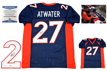 Steve Atwater Autographed Signed Jersey - Beckett - Navy