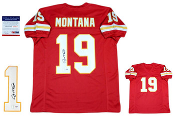 Joe Montana Autographed SIGNED Jersey - PSA - Red - KC