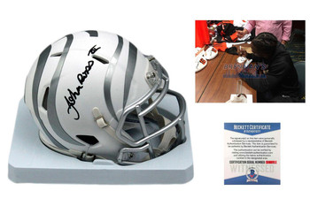 John Ross Signed Cincinnati Bengals ICE Mini Helmet - Beckett Authentic