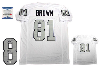 Tim Brown Autographed Signed Custom Jersey - Beckett Authenticated - White TB