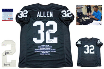 Marcus Allen Autographed Signed STAT Jersey - Beckett Authentic - Black