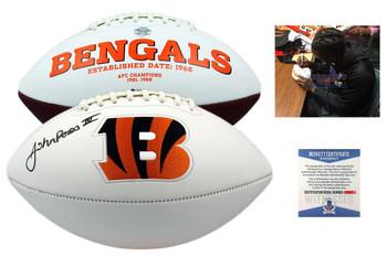 John Ross Signed Cincinnati Bengals Football - Beckett Autographed w Photo