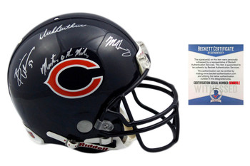 Butkus, Urlacher, Singletary Autographed SIGNED Chicago Bears Authentic Helmet - Monsters of the Midway