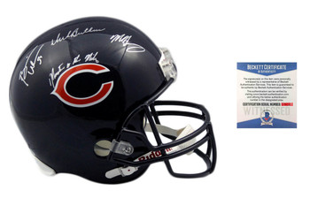 Butkus, Urlacher, Singletary Autographed SIGNED Chicago Bears Replica Helmet - Monsters of the Midway