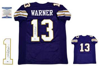 Kurt Warner Autographed Signed Custom Jersey - Beckett - Purple