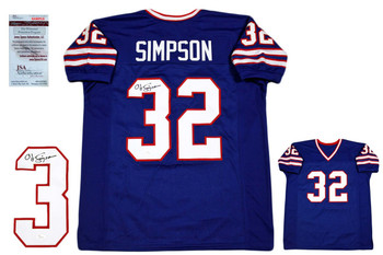 OJ Simpson Autographed Signed Jersey - JSA Witnessed - Royal