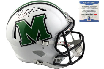 Randy Moss Autographed Marshall Thundering Herd Full Size Speed Helmet - Beckett