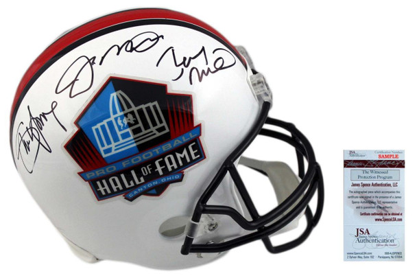Joe Montana, Rice, Young Triple Autographed Hall of Fame Full Size Helmet - JSA Authentic