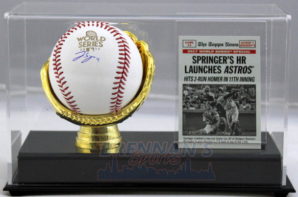 George Springer Autographed 2017 World Series Baseball with Gold Glove Display Case