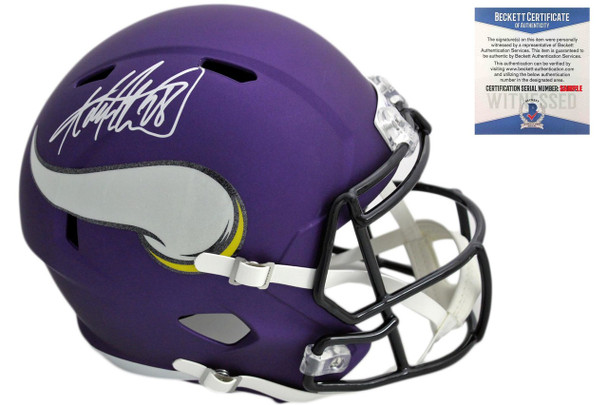 Adrian Peterson Autographed Vikings Speed Rep Helmet - Beckett Authentic
