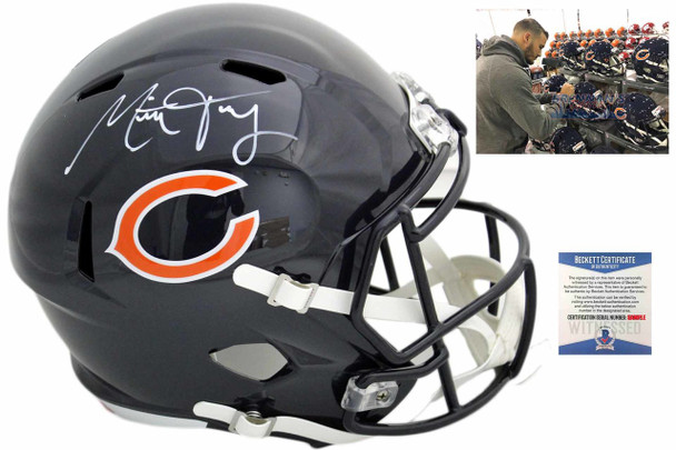 Chicago Bears Mitch Trubisky  Autographed Speed Helmet - Beckett Authentic