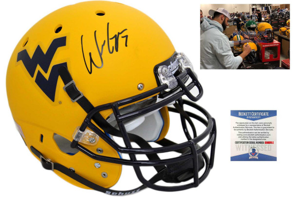 WVU Mounaineers Will Grier Autographed Signed Authentic Helmet - Matte Gold - Beckett