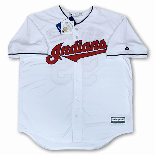 Charlie Sheen Autographed Signed Indians Majestic Jersey - Rick Vaughn - Beckett Authentic