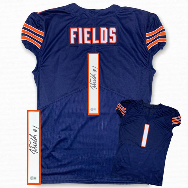 Justin Fields Autographed Signed Game Cut Jersey - Navy
