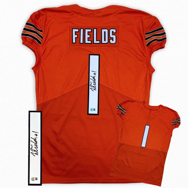 Justin Fields Autographed Signed Game Cut Jersey - Orange