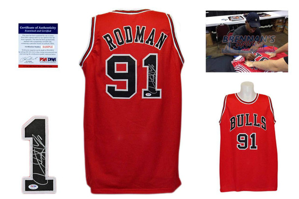 Dennis Rodman Signed Jersey - PSA DNA - Chicago Bulls Autographed - Red