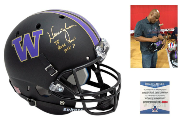 Warren Moon Autographed Signed Washington Huskies Full Size Helmet - Beckett- Black