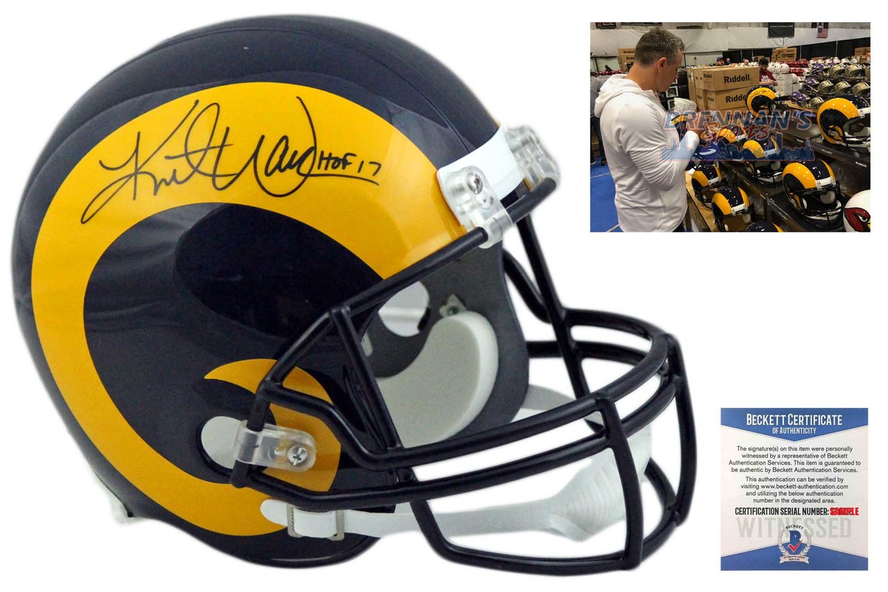 new product 02003 01cb7 Kurt Warner Autographed St. Louis Rams Full Size Helmet - TB - Beckett  Authentic