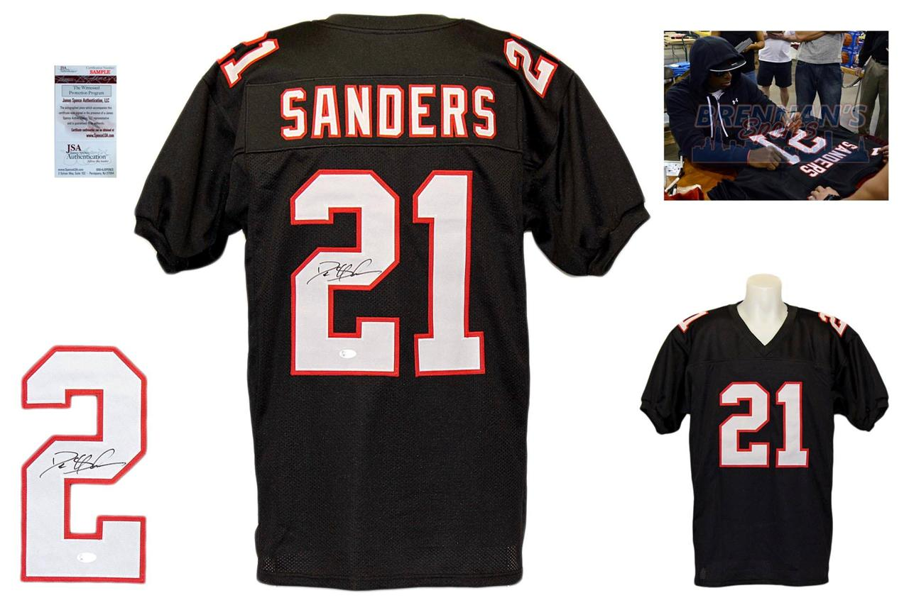 sale retailer 8b817 a344a Deion Sanders Signed Jersey - JSA Witnessed - Atlanta Falcons Autographed -  Black