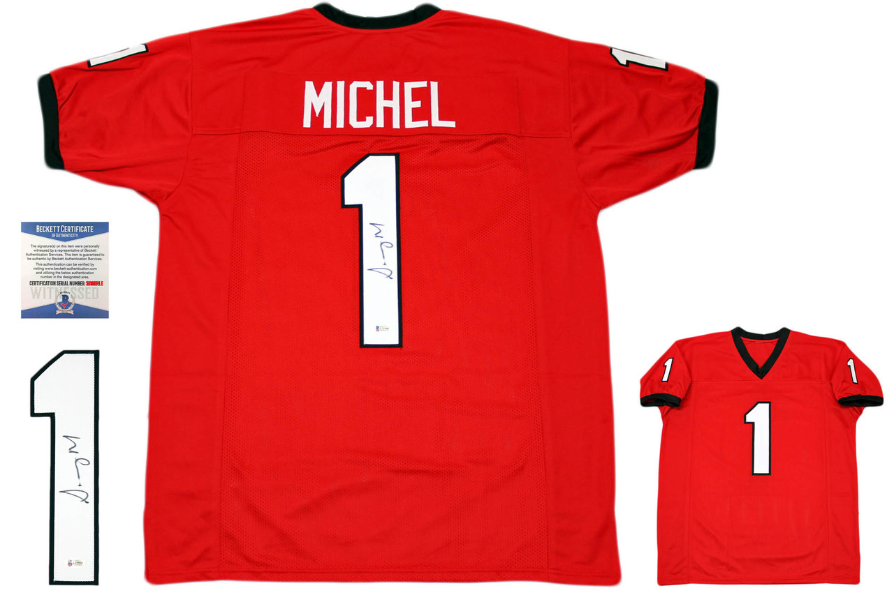 Sony Michel Autographed Signed Jersey - Red - Beckett Authentic