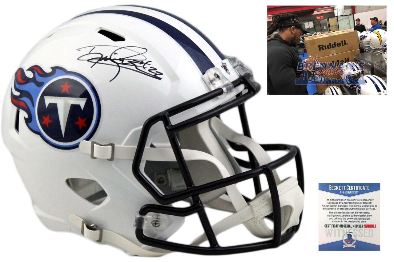 low priced ea0fc 744b1 Derrick Henry Autographed Signed Tennessee Titans Full Size Speed Helmet -  Beckett
