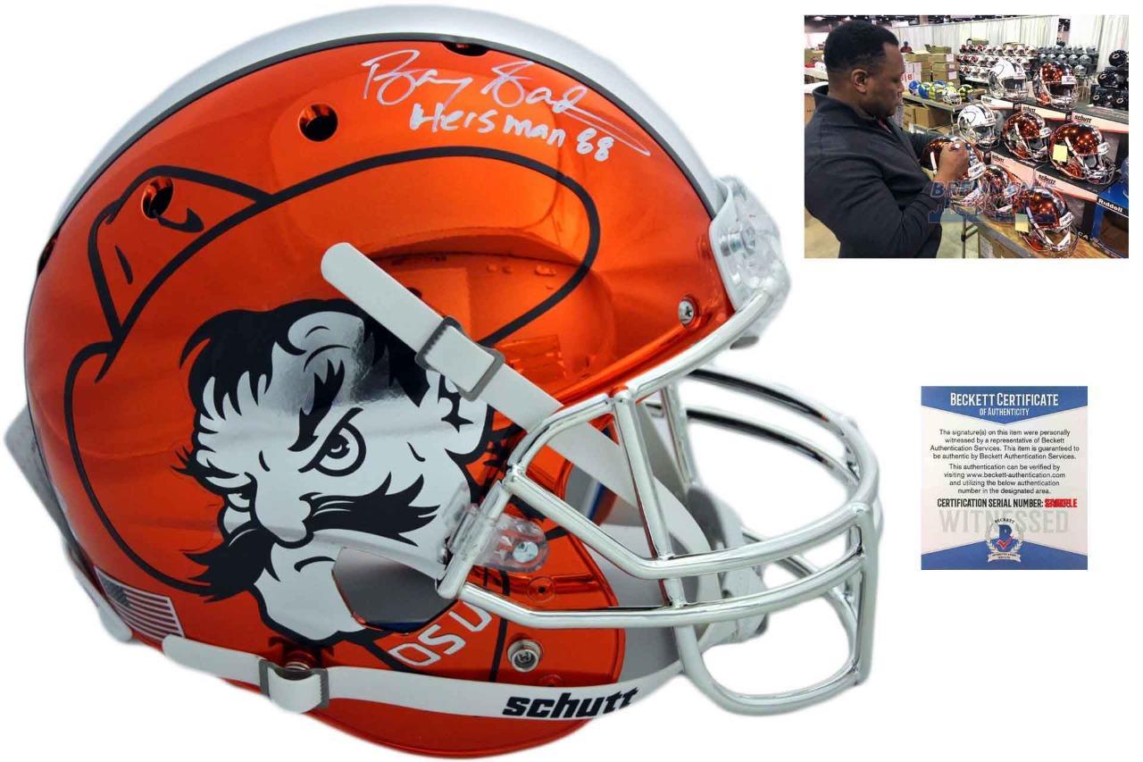 0e3b1af0e Oklahoma State Cowboys Barry Sanders Autographed Chrome Helmet ...