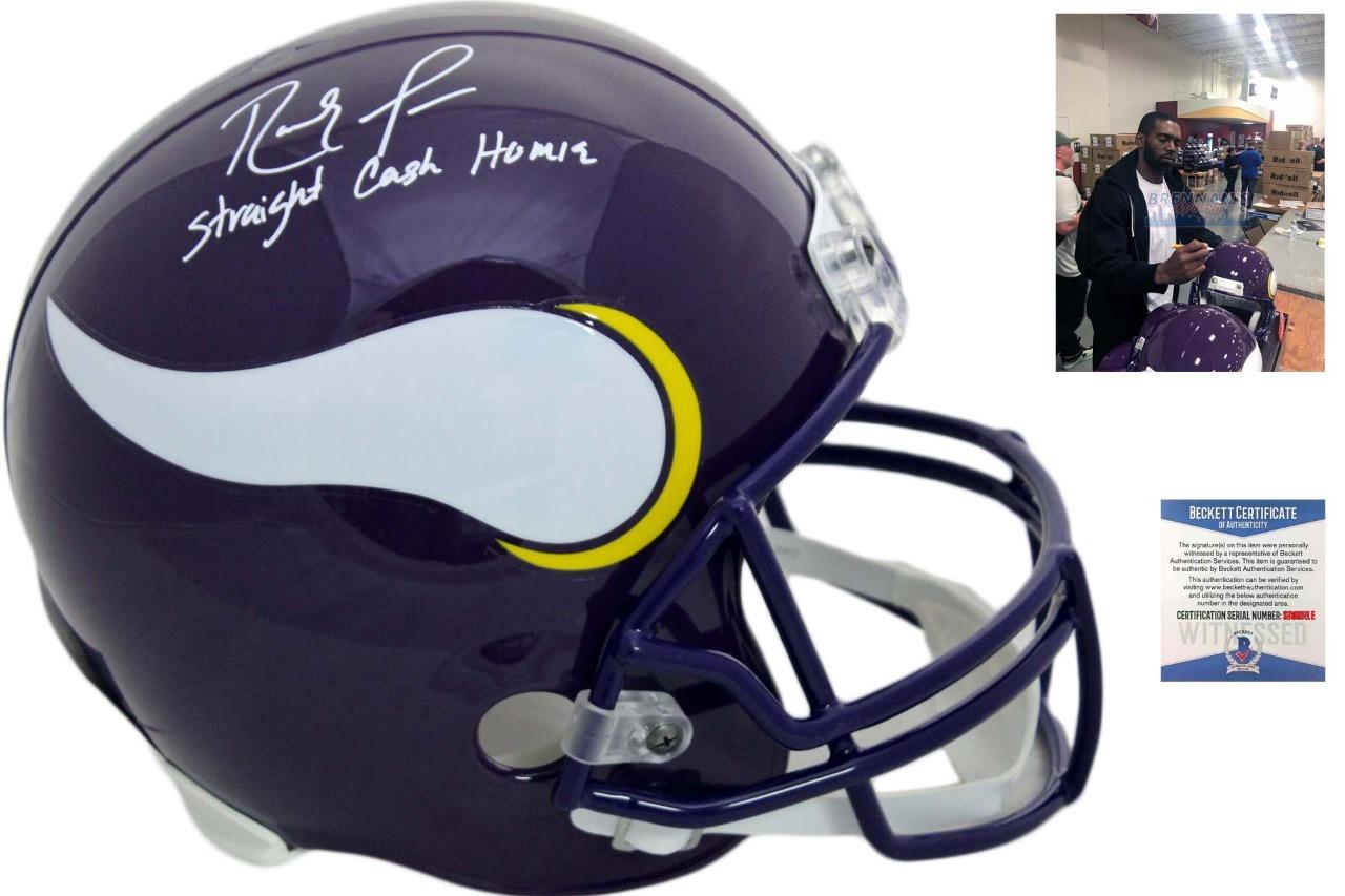 official photos b5c81 09d7c Minnesota Vikings Randy Moss Autographed Helmet - Straight Cash - Beckett  Authentic