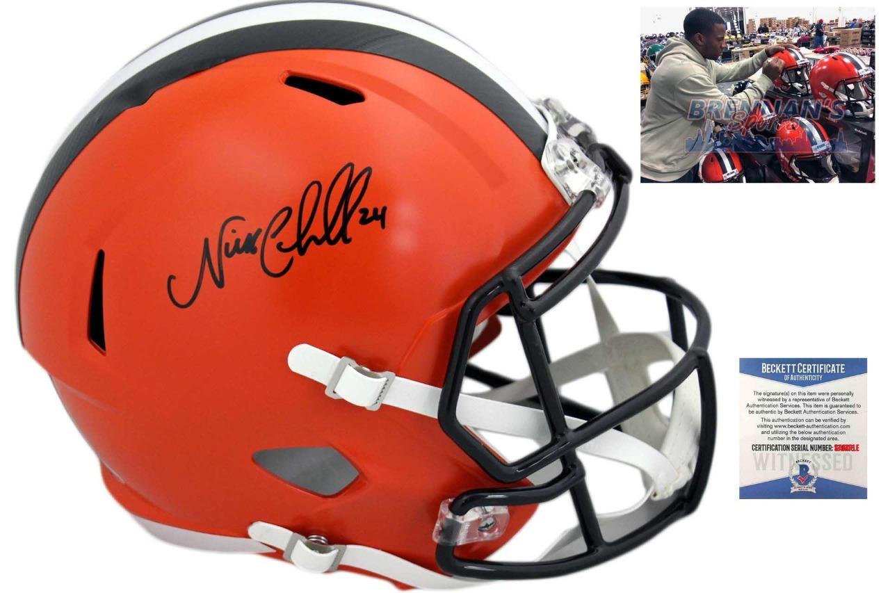 promo code 0631f 5c80e Cleveland Browns Nick Chubb Autographed Speed Helmet - Beckett Authentic