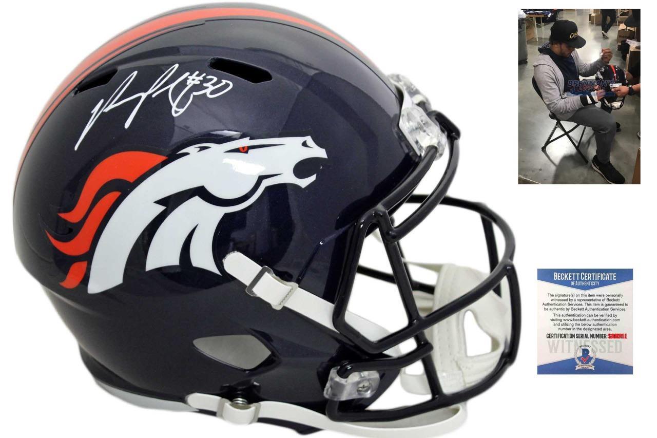 best sneakers ec856 4d3dd Denver Broncos Phillip Lindsay Autographed Speed Helmet - Beckett Authentic