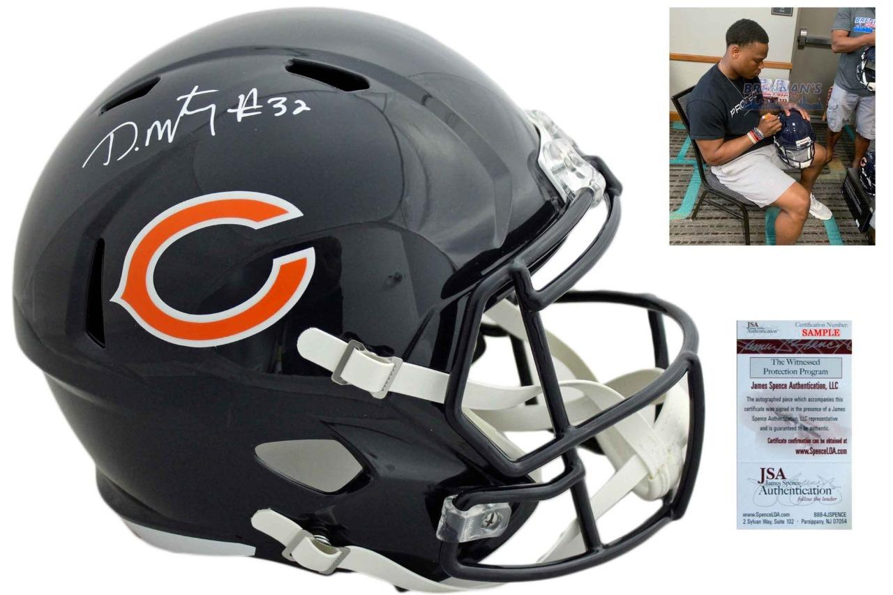 David Montgomery Signed Mini Helmet Chicago Bears Autographed
