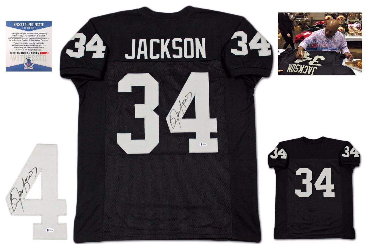 check out 0c09a 9e905 Bo Jackson Autographed Signed Jersey - Beckett Authentic - Black