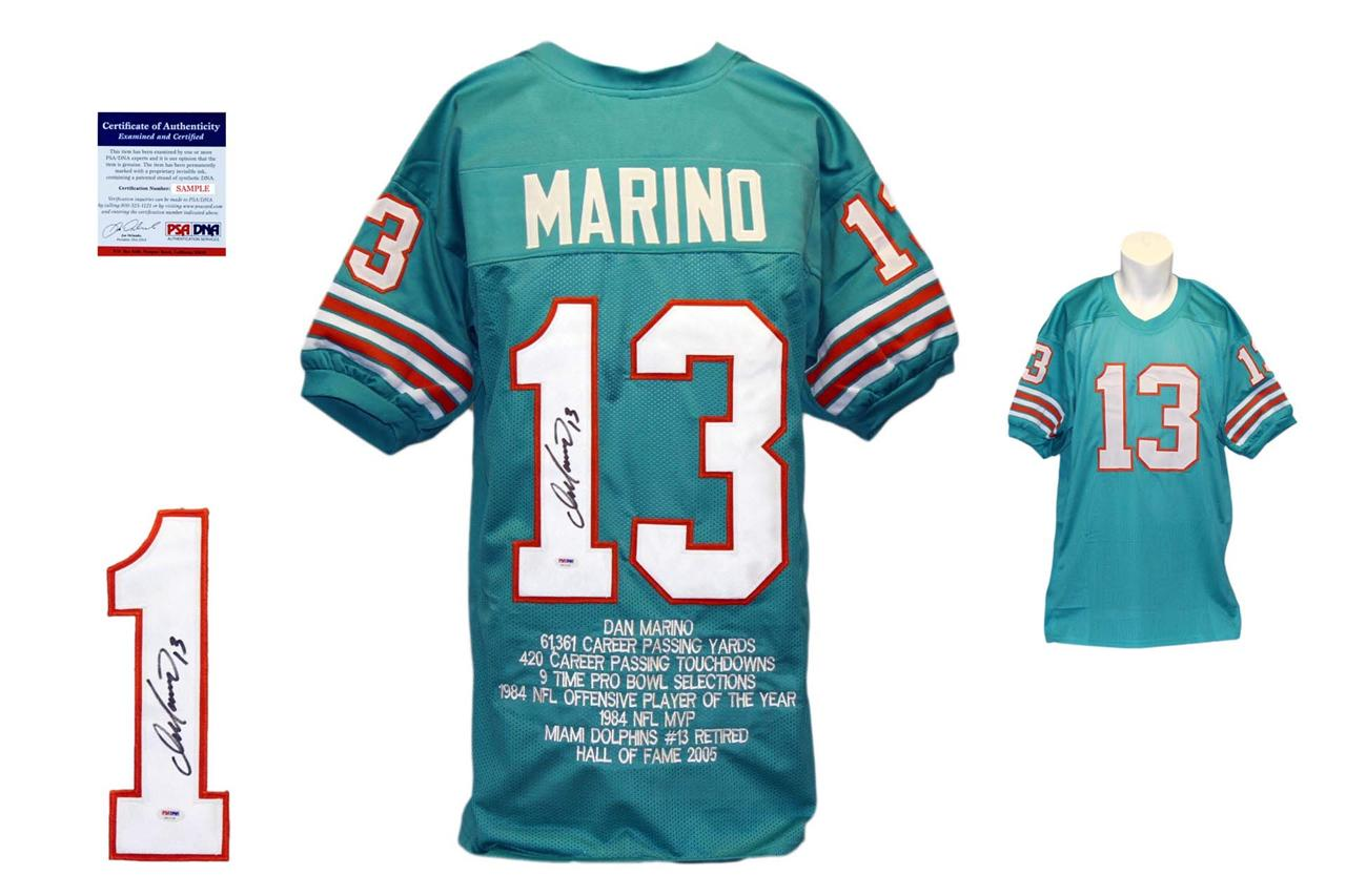 Dan Marino Autographed Signed Miami Dolphins Teal Stat Jersey PSA ... b586846cc