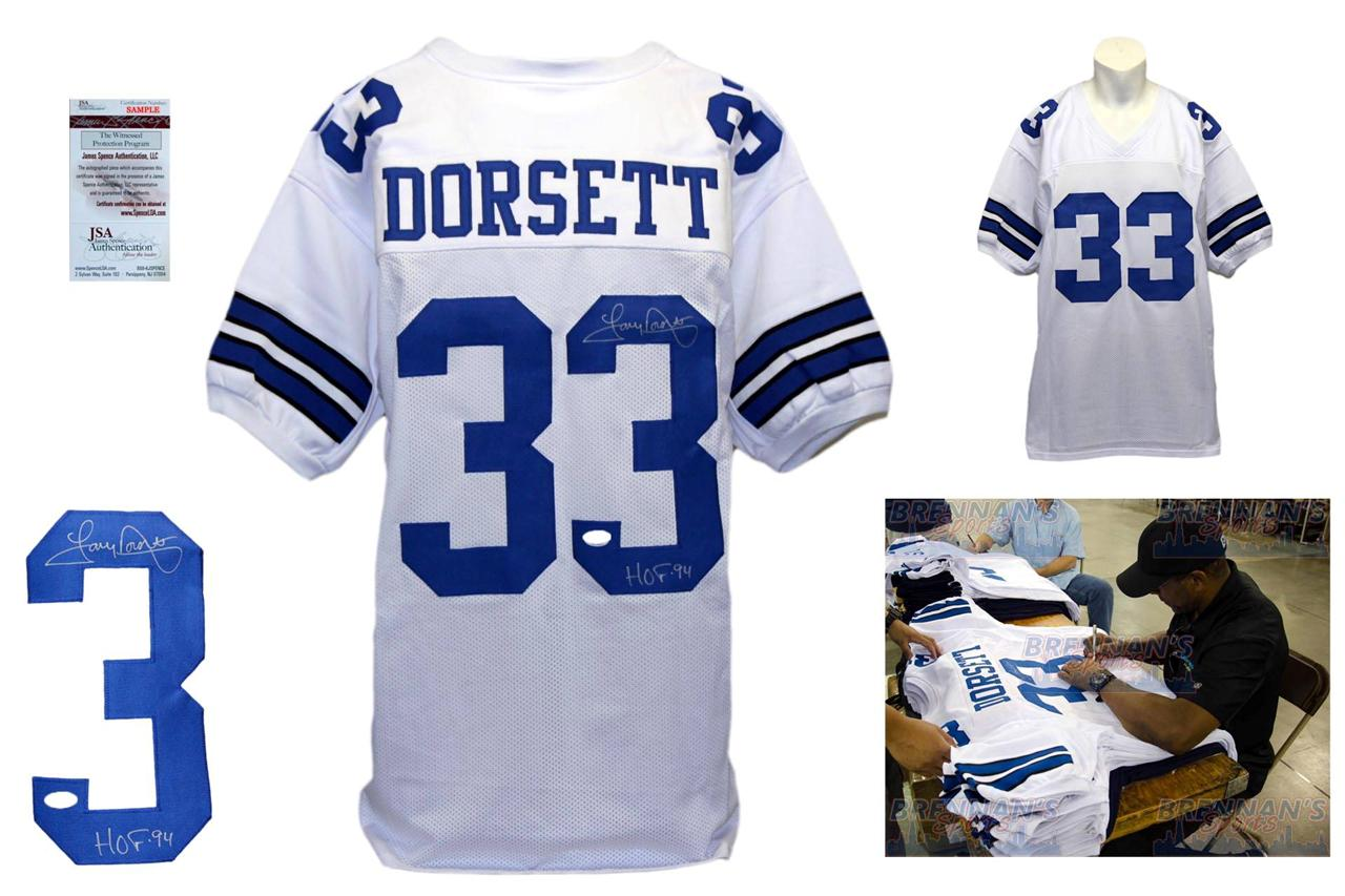 finest selection 814b0 cca37 Tony Dorsett Autographed Signed Dallas Cowboys White Jersey JSA Witness