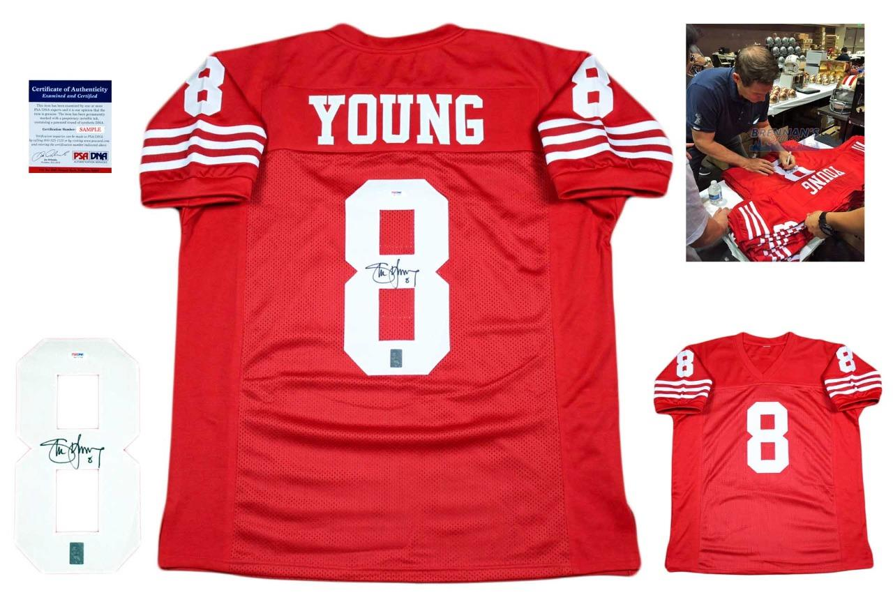 f97ca9fa7 Steve Young Autographed Signed San Francisco 49ers Red Jersey PSA ...