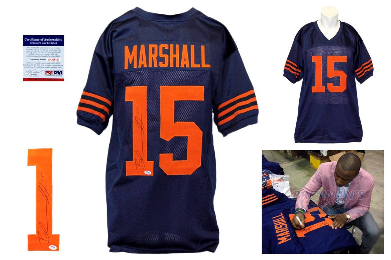 Brandon Marshall Signed Throwback Jersey - PSA DNA - Chicago Bears Autograph
