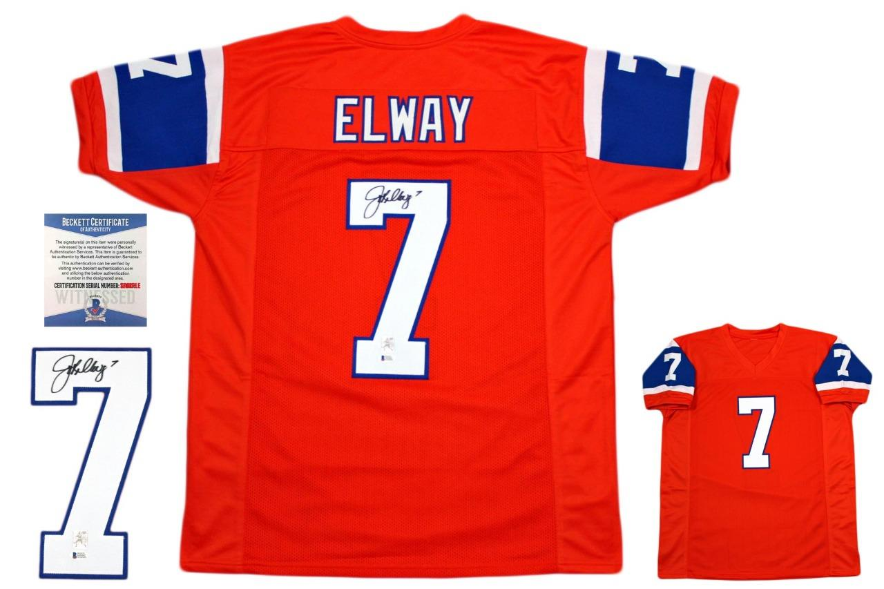 separation shoes e4d55 34aee John Elway Autographed Jersey - Beckett Authentic - Throwback