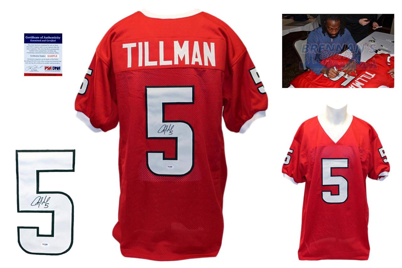 the latest ad1db 72e25 Charles Tillman Signed Red Jersey - PSA DNA - Louisiana Lafayette Ragin  Cajuns Autograph