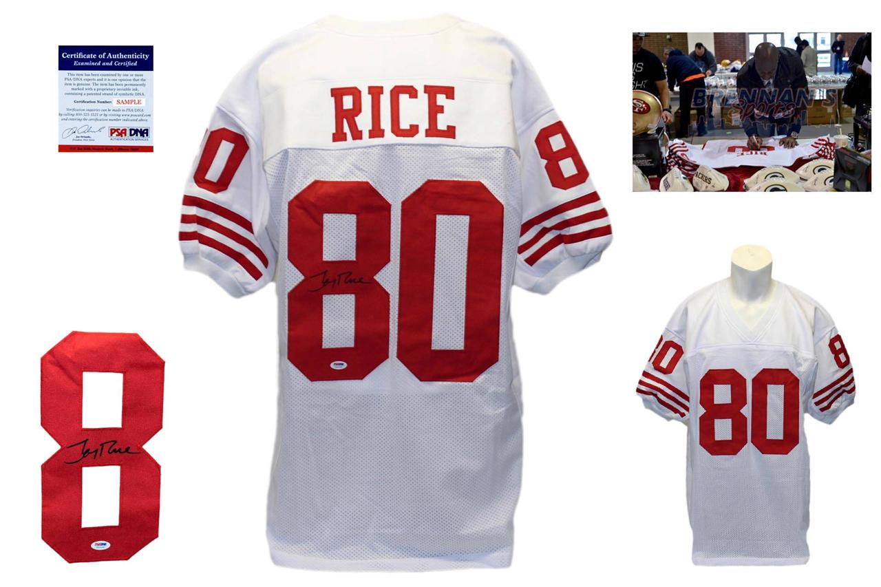 size 40 31ecf 1f287 Jerry Rice Signed White Jersey - PSA DNA - San Francisco 49ers Autograph