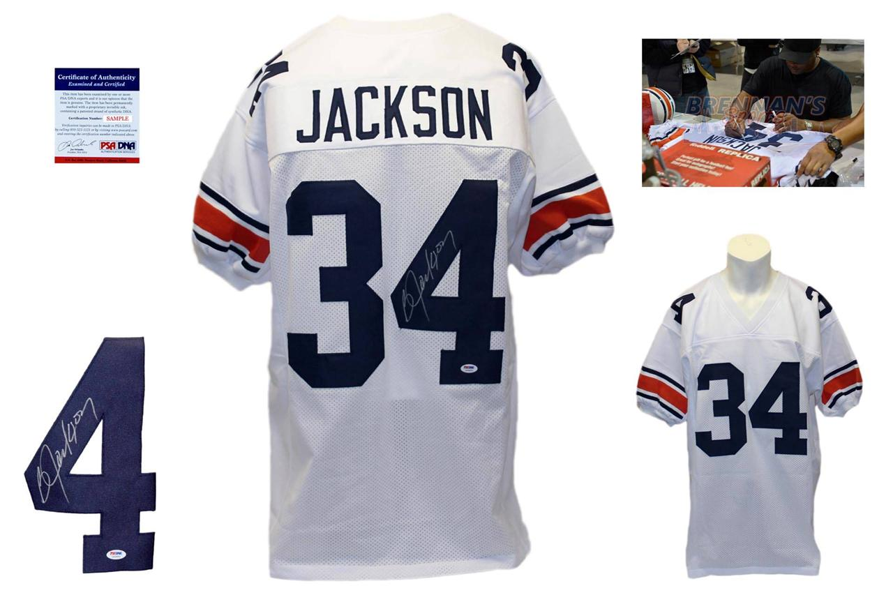 new style 6dc78 69723 Bo Jackson Signed White Jersey - PSA DNA - Auburn Tigers Autograph