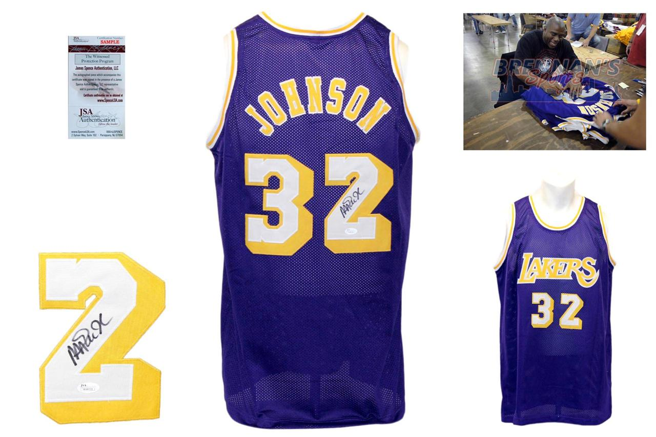 quality design 53269 9867a Magic Johnson Signed Purple Jersey - JSA Witness - Los Angeles Lakers  Autoraph