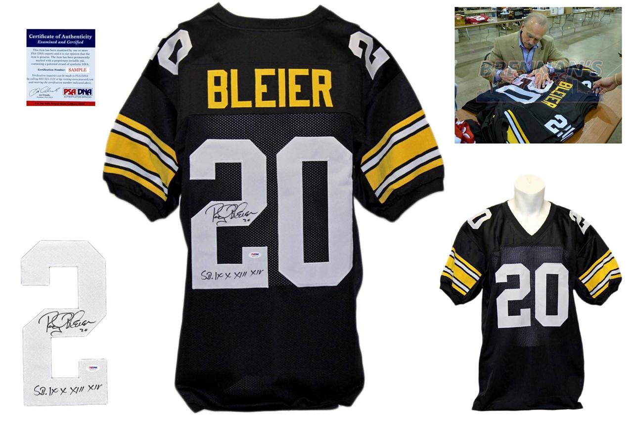 3f2fa174ee1 Rocky Bleier Signed Autographed Pittsburgh Steelers Black Jersey - PSA DNA  ...