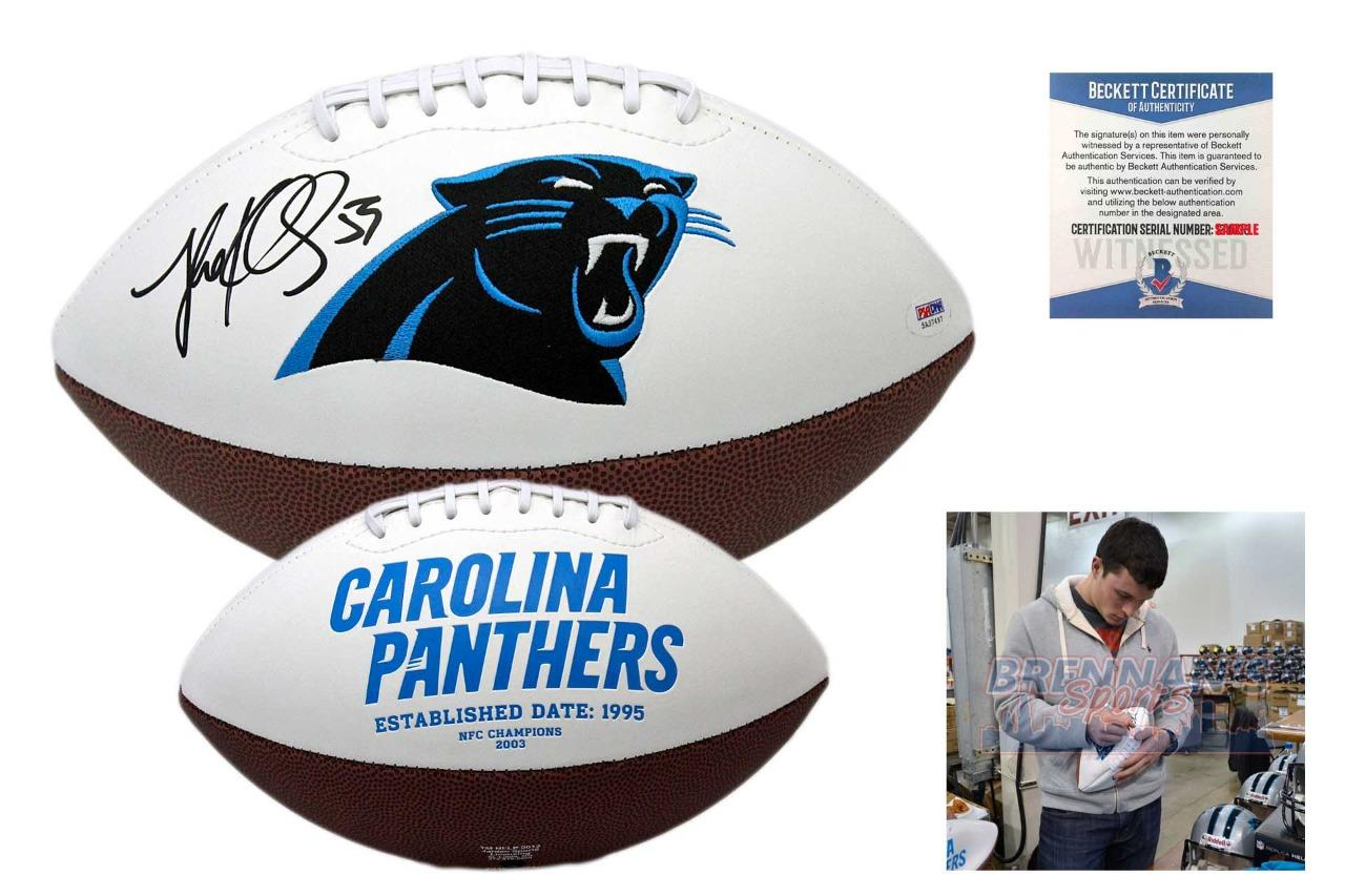outlet store bc2f6 05433 Luke Kuechly Autographed SIGNED Carolina Panthers Logo Football - Beckett