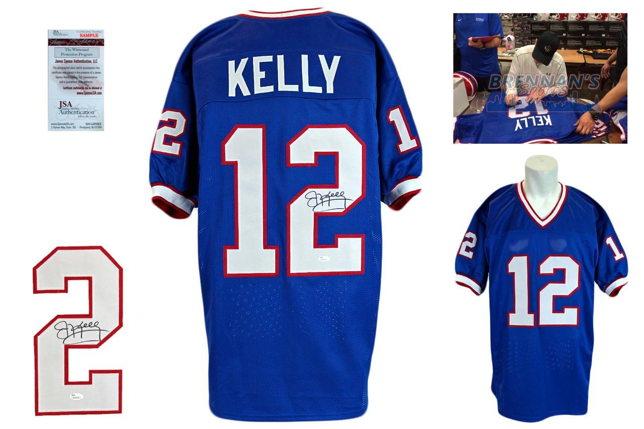 huge selection of b2274 ef88f Jim Kelly Signed Jersey - JSA Witness - Buffalo Bills Autographed - Royal  Blue