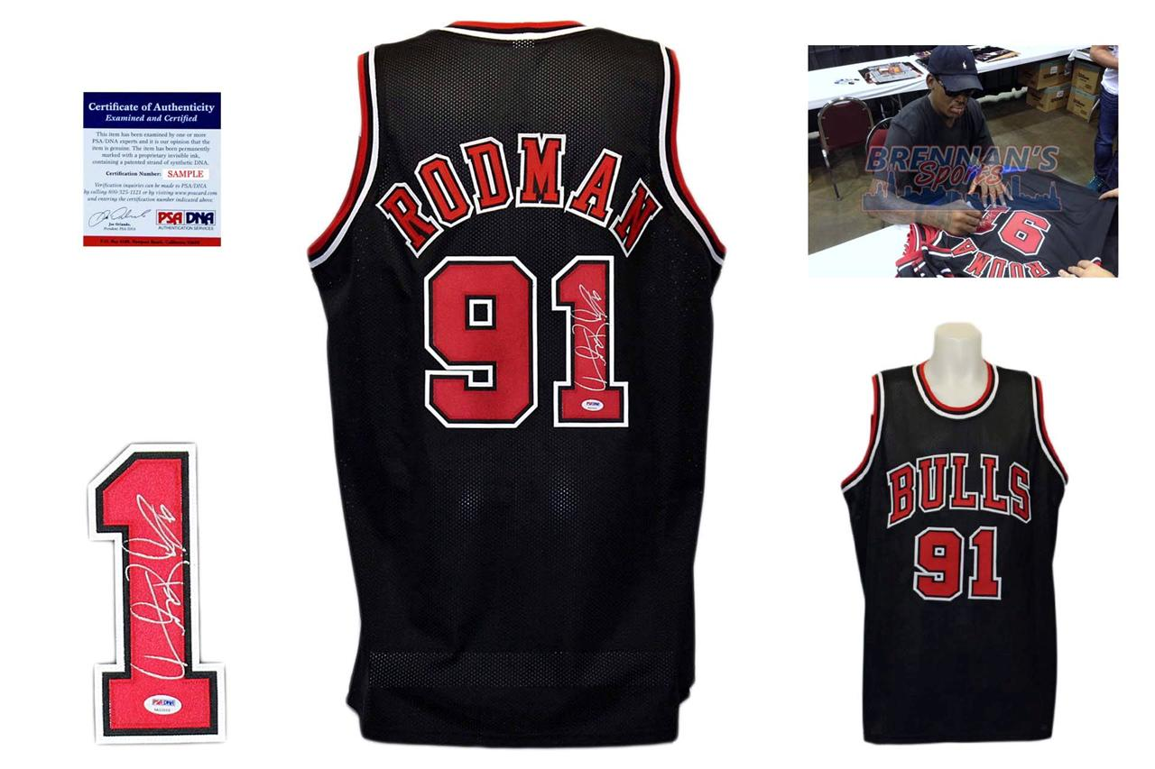 the best attitude 63724 4f527 Dennis Rodman Signed Jersey - PSA DNA - Chicago Bulls Autographed - Black