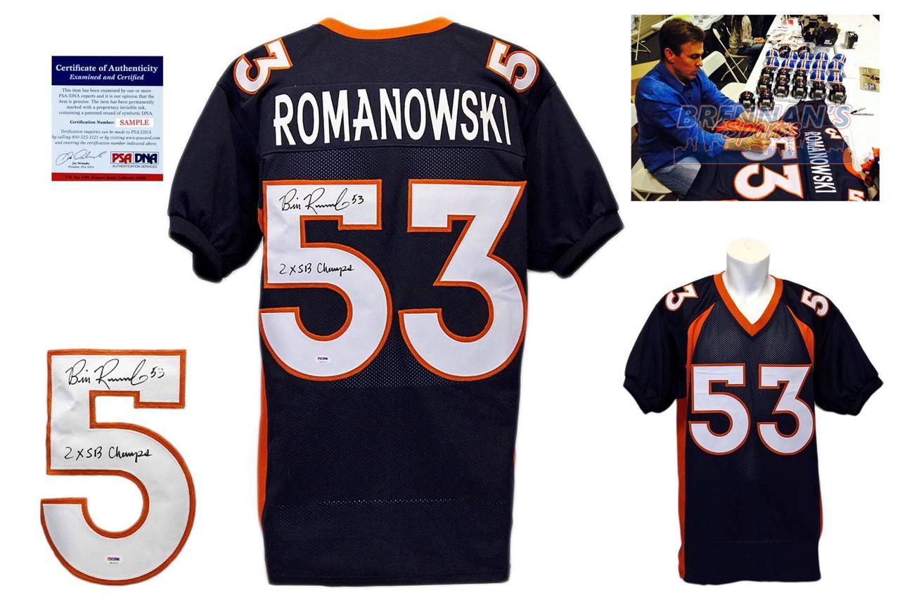 Bill Romanowski Signed Jersey - Denver Broncos Autographed - PSA DNA - Navy 60e5efef1