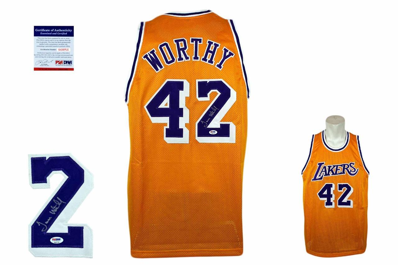 brand new bd475 12c49 James Worthy Signed Jersey - Gold - PSA DNA - Los Angeles Lakers Autographed