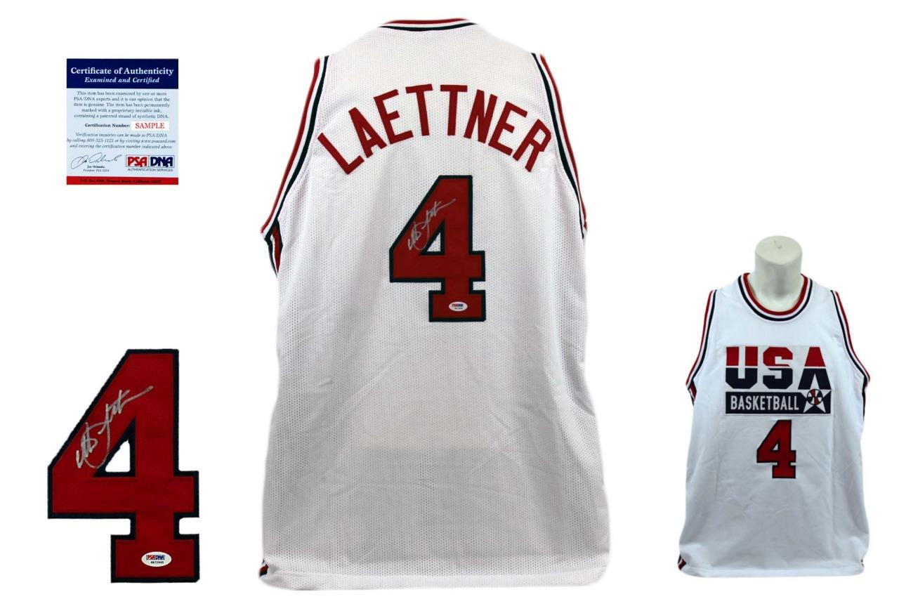 66eaf32f9d9 Christian Laettner Signed Jersey - PSA DNA - Team USA Dream Team Autographed  ...