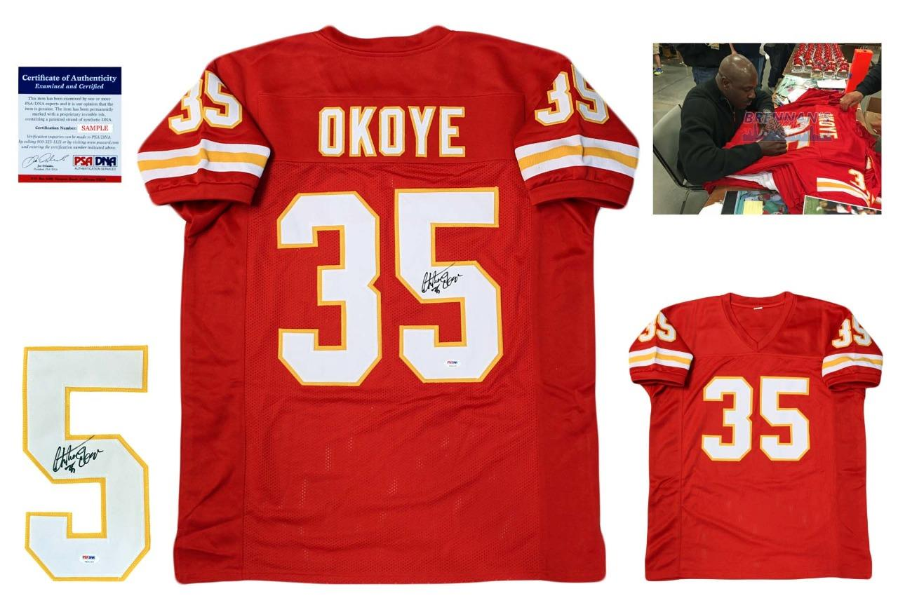 Christian Okoye Autographed Signed Jersey - Red - PSA DNA Authentic