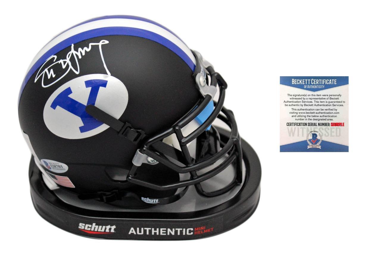 96e4b7e8167 Steve Young Signed Mini Helmet - Beckett - BYU Cougars Autographed - Black